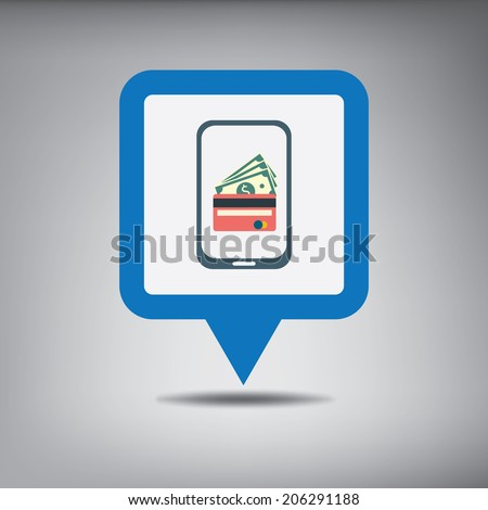 Mobile payment concept with a symbol of credit card on smartphone. NFC technology. Eps10 vector illustration.