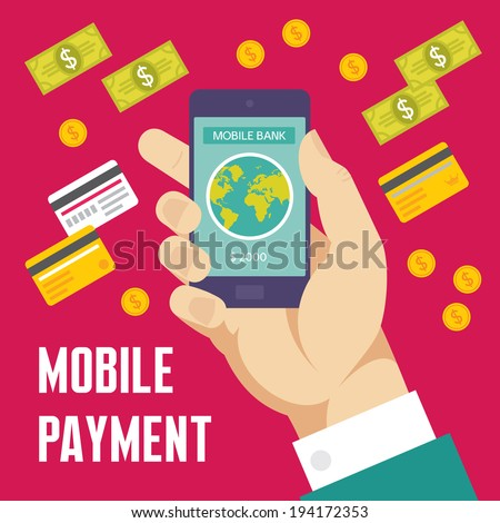 Mobile Payment Creative Illustration - Business Concept in Flat Design Style for presentation, booklet, web site etc.
