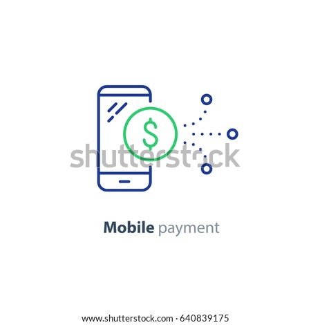 Mobile payment services, phone finances app, financial banking technology, vector line icon