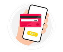 Mobile Payment. Smartphone with Online Payment. Credit card on screen phone. Online shopping. NFC payments. Banking, Finance app and e-payment. Pay by credit card via electronic wallet wirelessly