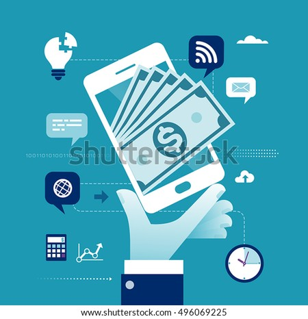 Mobile Payment. The composition of a hand, smart phone and banknotes. Business concept illustration