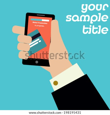 Mobile payment vector template ad.