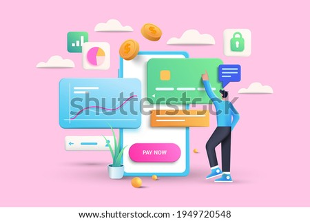 Mobile payment via credit card concept. Secure online payment transaction with smartphone. Internet banking via credit card on mobile. Protection shopping wireless pay through smartphone. 3D Vector