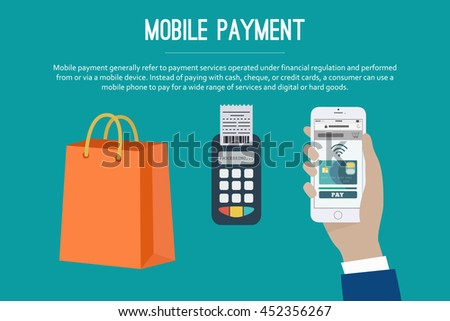 Mobile payment web banner. Paying with NFC technology on mobile phone. Set of mobile payment elements, flat design. Vector illustration.