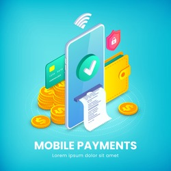Mobile payments banner, Electronic bank app, Money transfer Isometric concept. Online shopping 3d design template with smartphone, wallet and icons. E-commerce vector illustration for web, advert, app