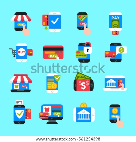 Mobile payments icons vector set.