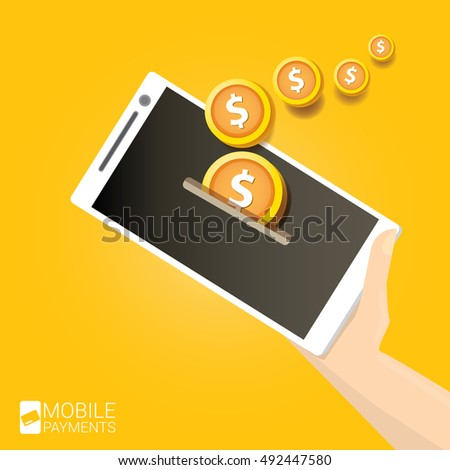mobile payments vector concept . Flat design style vector illustration of modern smartphone with processing of mobile payments on the screen. Internet banking concept. wireless money transfer.