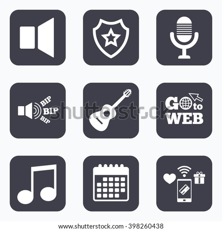 Mobile Payments, Wifi And Calendar Icons. Musical Elements Icons ...