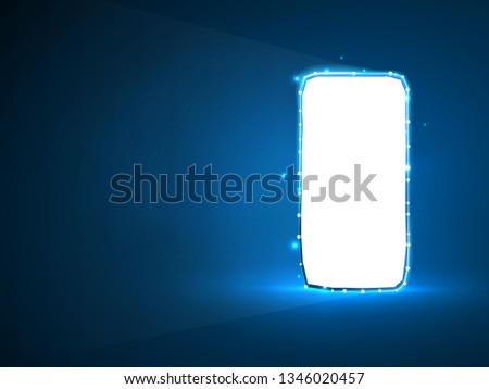 Mobile Phone. Abstract neon 3d illustration. Polygonal Vector technology concept of device, gadget, smartphone. Low poly wireframe, geometry triangle, lines, dots, polygons on blue background
