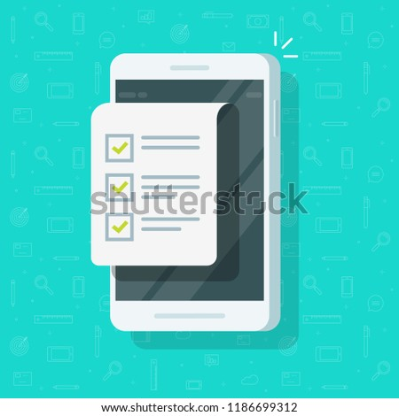 Mobile phone and checklist vector illustration, flat cartoon smartphone display with document and to do list with checkboxes, concept of survey, online quiz, completed things or done test, feedback