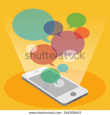 Mobile phone and colorful bubble speech
