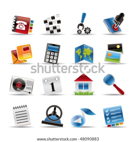 Mobile Phone and Computer icon - Vector Icon Set - stock vector