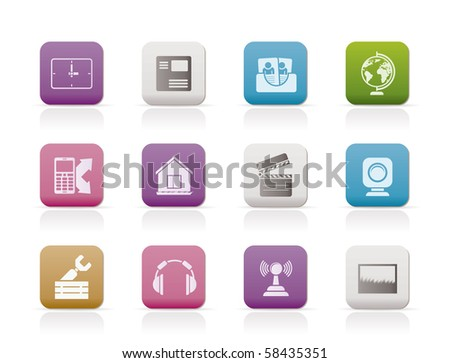 Mobile phone and computer icons - vector icon set - stock vector