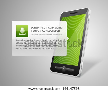 Mobile phone and download vector backgroud