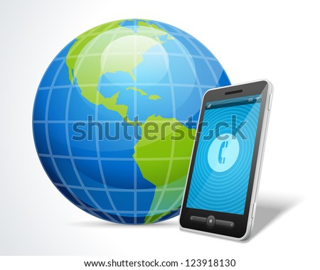 Mobile phone and globe icon vector illustration