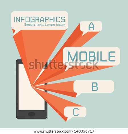 Mobile phone and speech bubbles infographics, vector