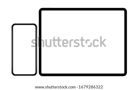 Mobile phone and tablet computer mockup isolated on white background. Modern electronic devices with blank screens. Vector illustration