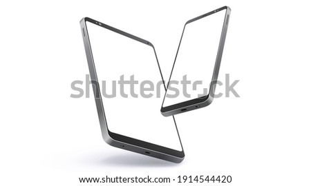 Mobile Phone and Tablet Computer Realistic Vector Mockup With Perspective View. Digital Devices Screen Isolated on White Background.