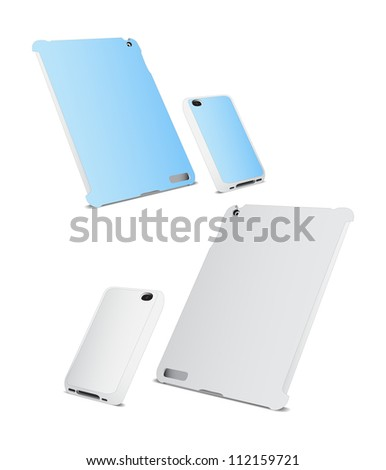 Mobile phone and tablet PC with blank cover isolated on white.