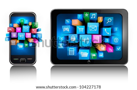 Mobile phone and tablet pc with colorful icons.. Vector.