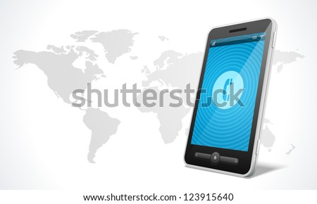 Mobile phone and world map icon vector illustraion