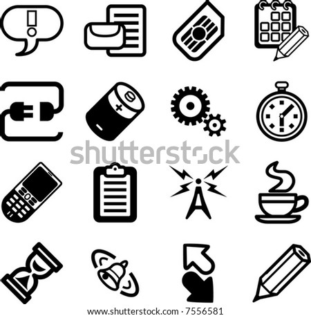 Mobile Phone Applications GUI Icon Series Set.  A vector Mobile Phone Applications GUI Icon Series Set