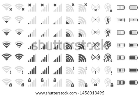 Mobile phone bar icons. Smartphone battery charge level, wifi signal strength icon and network connection levels pictogram. Device power indicating or batteries bar. Isolated symbols vector set