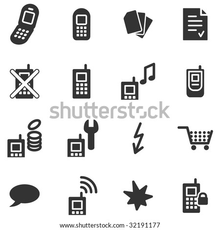 Mobile phone black web icons