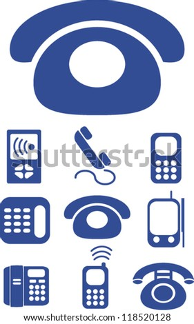 mobile phone call & smart phone icons set, vector