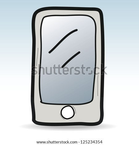 mobile phone cartoon,doodle vector illustration