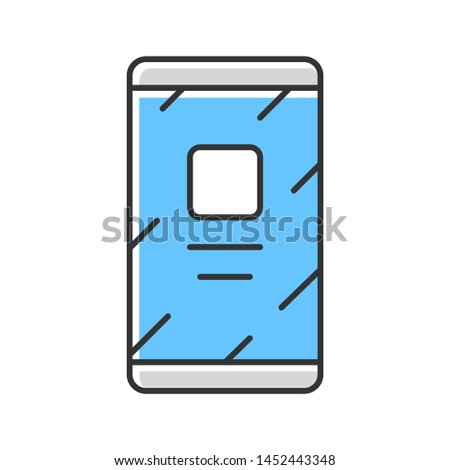 Mobile phone, cell phone color icon. Modern smartphone isolated vector illustration. Portable electronic device, trendy gadget. Communication technology, business tool. Cellphone with touchscreen
