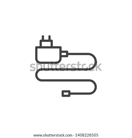 Mobile phone charger line icon. linear style sign for mobile concept and web design. Power adapter outline vector icon. Symbol, logo illustration. Vector graphics Stockfoto ©