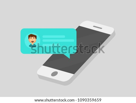 Mobile phone chat message notifications. Chatting bubble speeches, concept of online talking, speak, conversation, dialog. Vector illustration