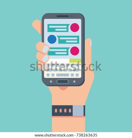 Mobile phone chat message notifications, hand with smart phone and chatting bubble speeches
