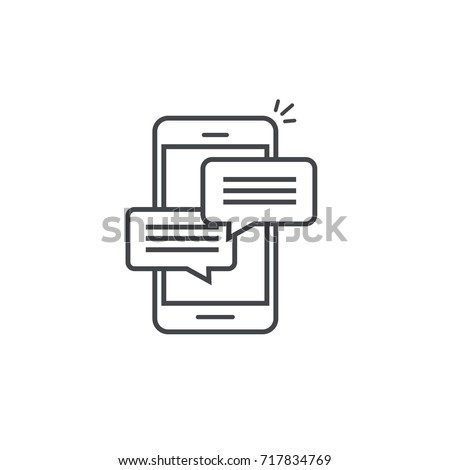 Mobile phone chat message notifications vector icon isolated line outline style, smartphone chatting bubble speeches pictogram, concept of online talking, speak messaging, conversation, dialog symbol