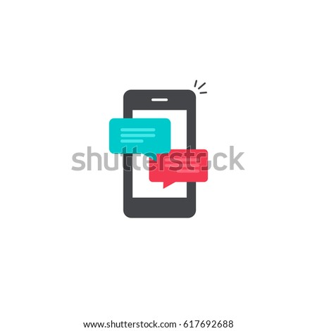 Mobile phone chat message notifications vector icon isolated, smartphone and chatting bubble speeches pictogram, concept of online talking, conversation and messaging dialog symbol