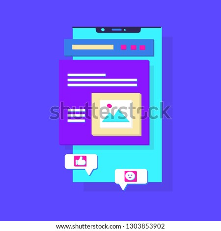 Mobile phone chat message notifications vector illustration. Sending messages, photos.