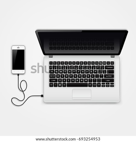 Mobile phone connected to laptop