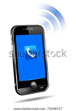 Mobile phone connection technology concept on white background