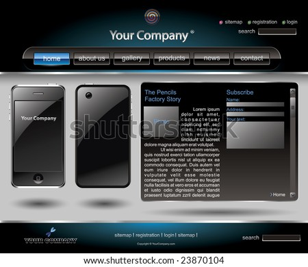 Mobile phone editable website template