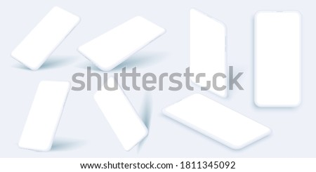 Mobile phone, empty smartphones and modern frameless smartphone. White flat realistic smartphone mock up isolated on white background. Perfect template for presentation your user interface design.