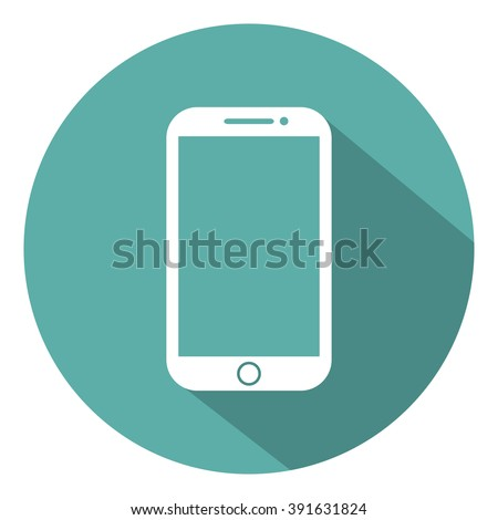 Mobile phone flat style icon with shadow on a green background, vector illustration