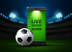 mobile phone football online on stadium background vector