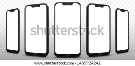 Mobile Phone From Different Angles with Transparent Background