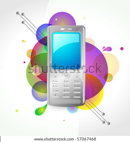 Mobile phone guitar on abstract colorful background