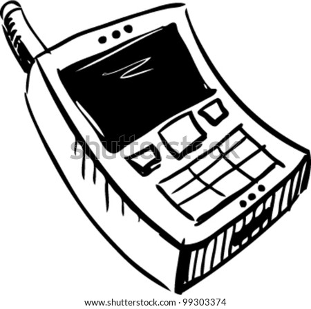 Mobile phone icon doodle cartoon sketch vector illustration