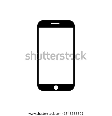 Mobile phone icon isolated on white background. Transparent black and white mobile phone. Mobile phone icon vector illustration, EPS10.