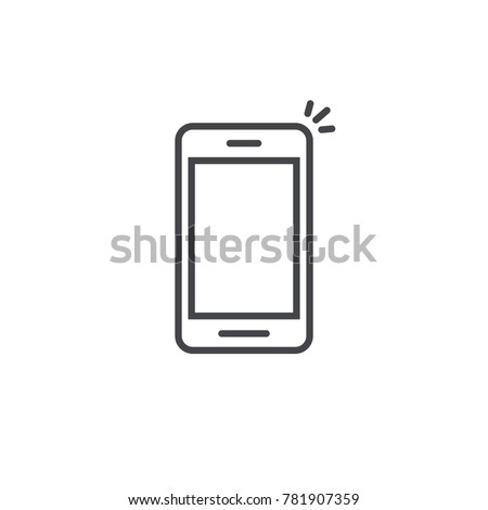 Mobile phone icon vector, line art outline style of smartphone symbol, simple linear cellphone pictogram isolated on white