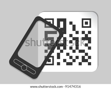 mobile phone icon with bar code