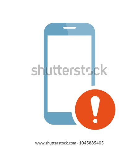 Mobile phone icon with exclamation mark. Mobile phone icon and alert, error, alarm, danger symbol. Vector icon